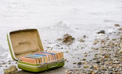 Foto van een koffer vol boeken op de weg